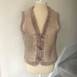 Vintage Shearling Suede Fur Toggle Closure Vest